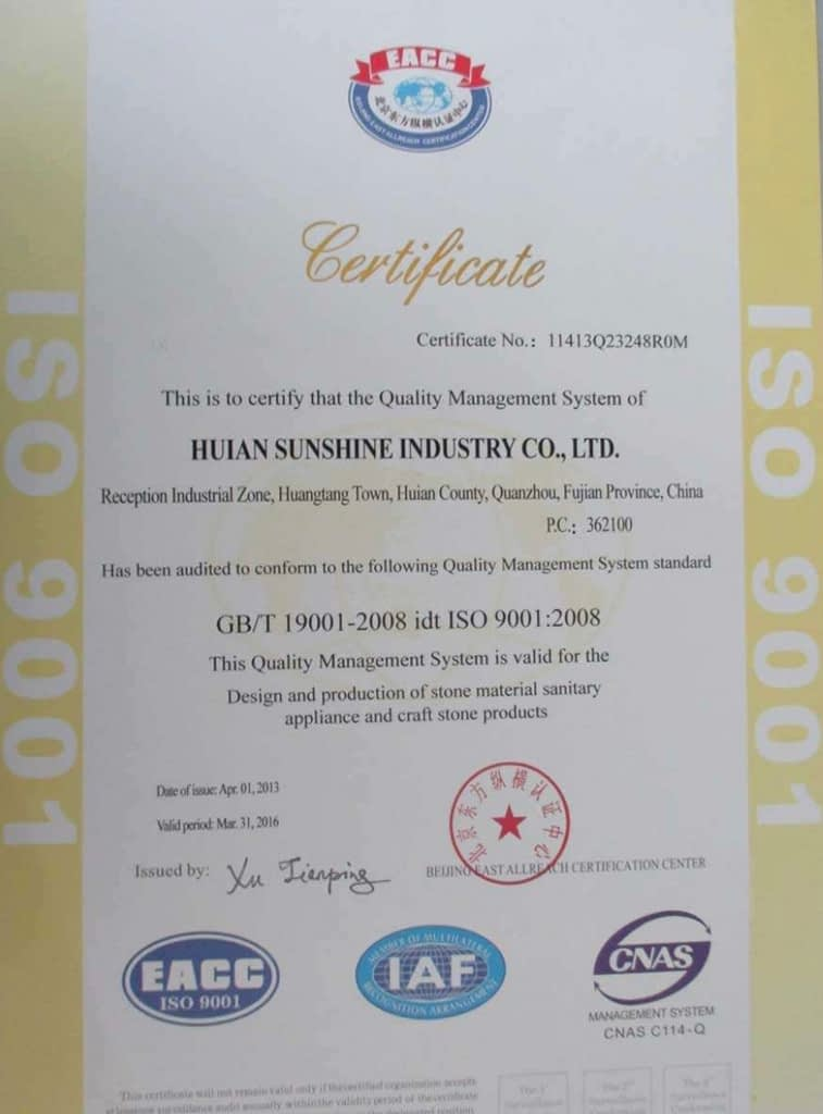 Sunshine Stone is an ISO9001:2000 certificated